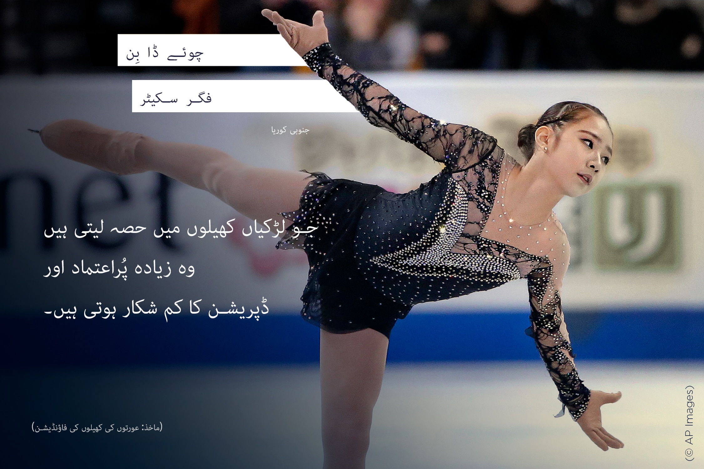 Figure skater skating, with words overlaid (© AP Images)