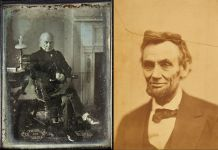 John Quincy Adams (à gauche), photo de Philip Haas, et Abraham Lincoln, photo d'Alexander Gardner (Smithsonian Institution)