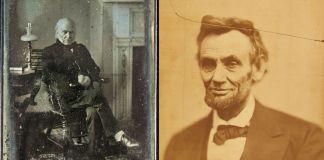 John Quincy Adams (à gauche), photo de Philip Haas, et Abraham Lincoln, photo d'Alexander Gardner (Smithsonian Institution)