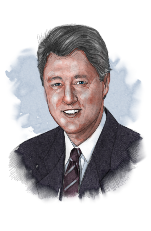 Illustrated image of President Clinton (© siteseen.info)