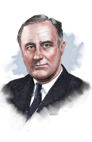 Illustrated image of President F. Roosevelt (© siteseen.info)