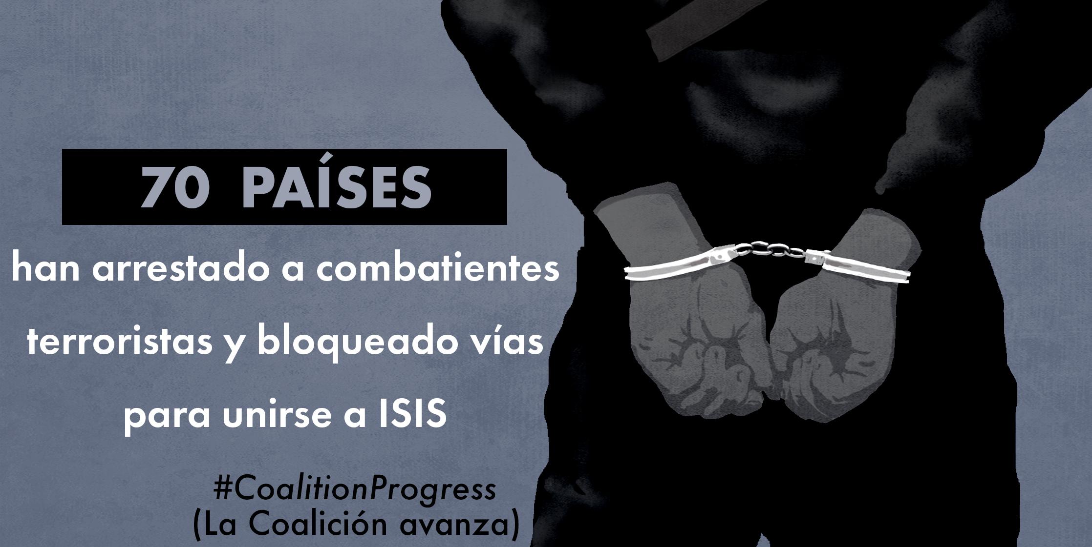 """Ilustración que muestra las manos esposadas de una persona desde atrás y un texto que dice: """"70 países han arrestado a combatientes terroristas y han bloqueado vías para unirse a ISIS"""" (Depto. de Estado/D. Thompson)"""