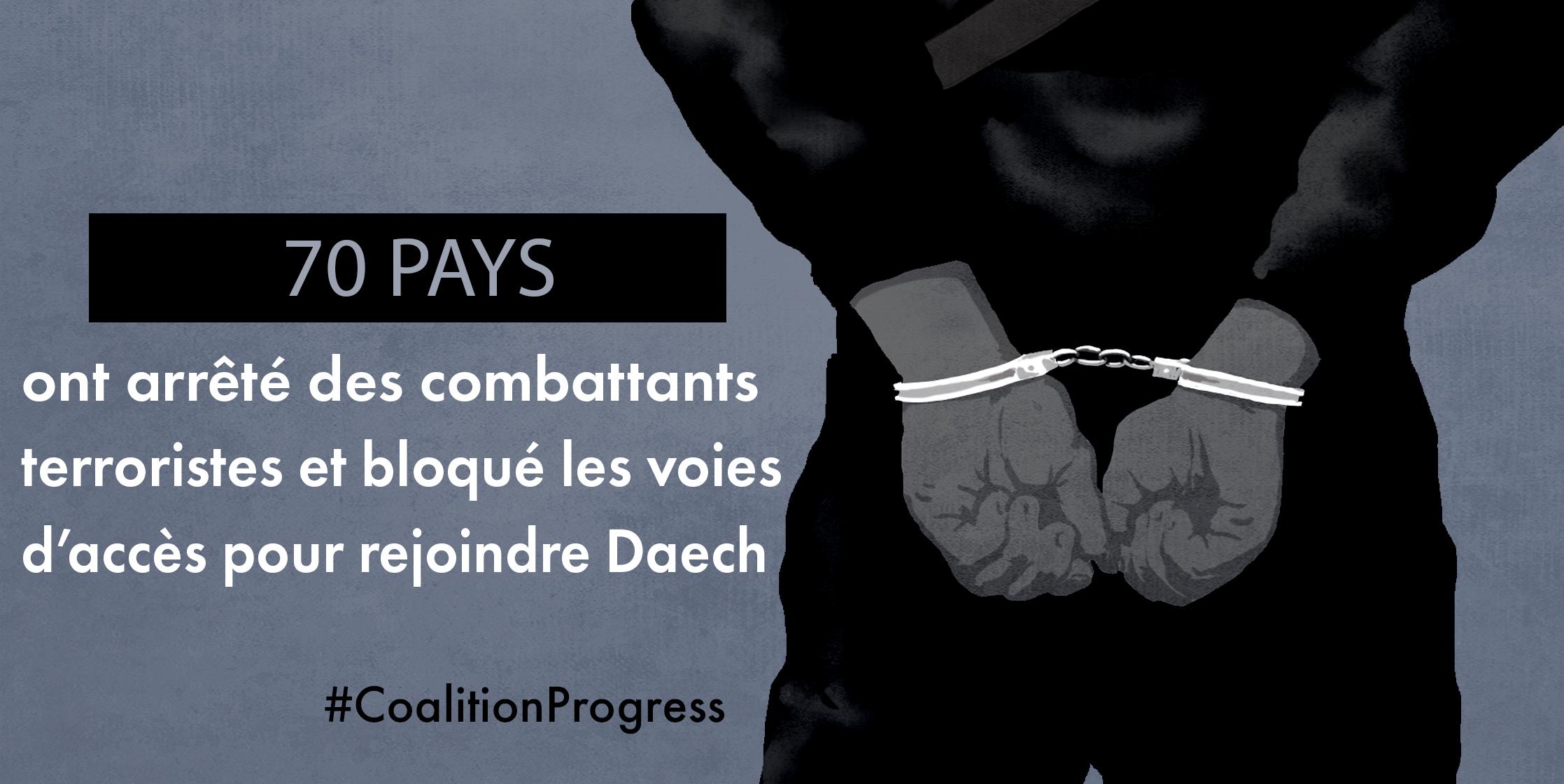 Dessin d'une personne, de dos, les mains menottées, avec la phrase: «70 pays ont arrêté des combattants terroristes et bloqué les voies d'accès pour rejoindre Daech.» (Département d'État/D. Thompson)