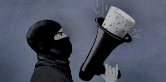 Illustration of masked man holding a plugged megaphone (State Dept./D. Thompson)