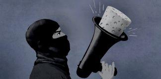 Ilustración de un hombre enmascarado con un megáfono tapado (Depto. de Estado/D. Thompson)