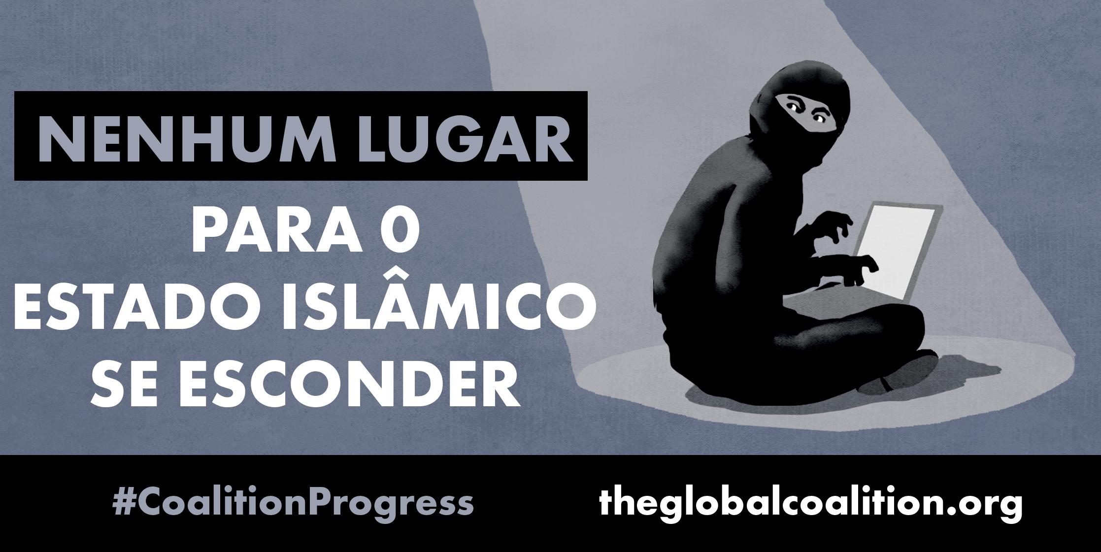 """Ilustração da pessoa mascarada e sentada com pernas cruzadas teclando em computador. E texto em que se lê: """"Nenhum lugar para o Estado Islâmico se esconder"""" (Depto. de Estado/D. Thompson)"""