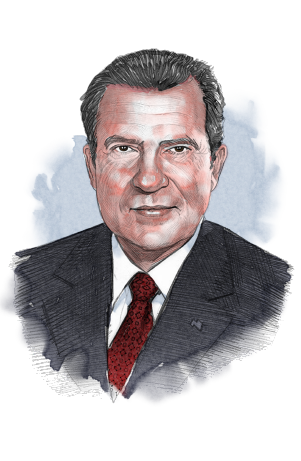 Illustrated image of President Nixon (© siteseen.info)