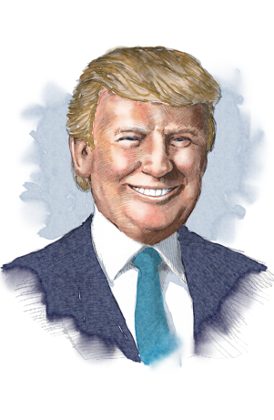 Illustrated image of President Trump (State Dept./D. Thompson)