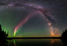 Green and purple lights in night sky (Courtesy of Krista Trinder/NASA)