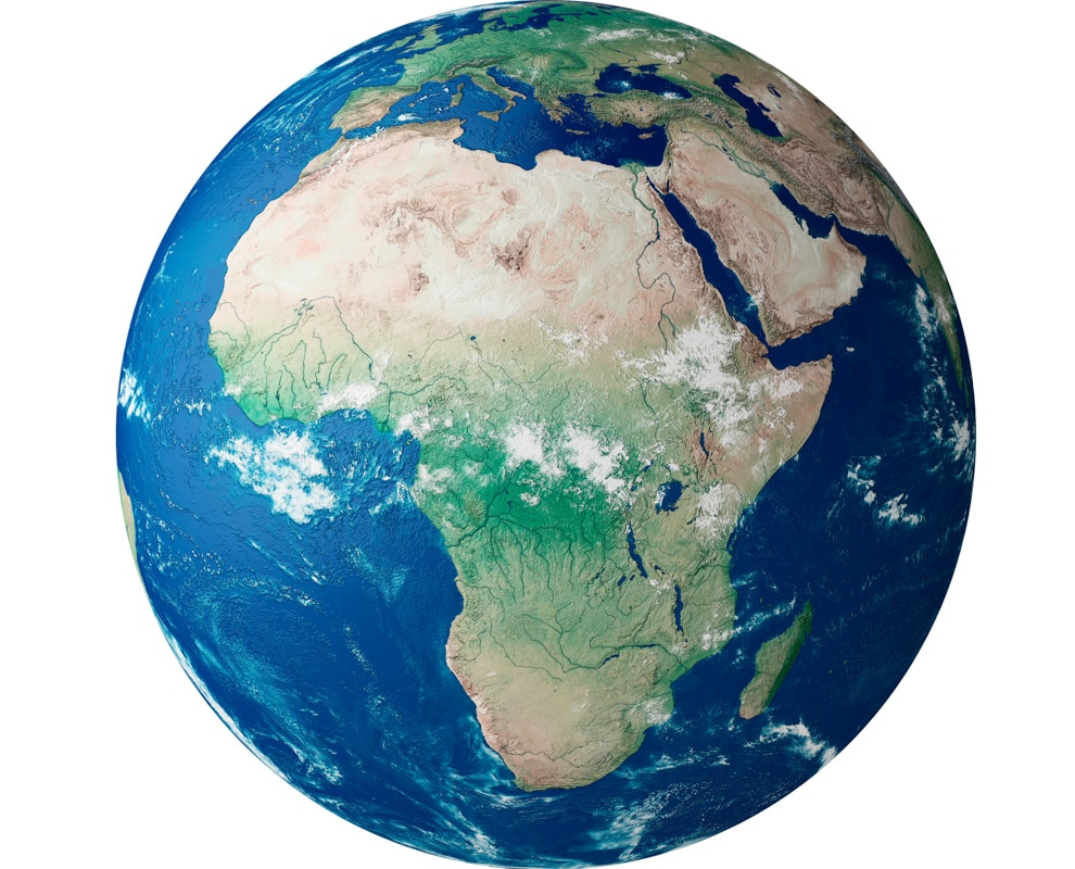 Globo terrestre mostra o continente africano (© incamerastock/Alamy)