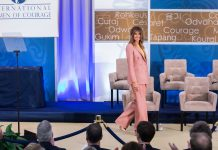 Melania Trump walking across stage (State Dept./D.A. Peterson)