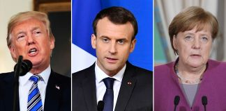 Fotos de Donald Trump, Emmanuel Macron, Angela Merkel e Theresa May lado a lado (© AP Images)