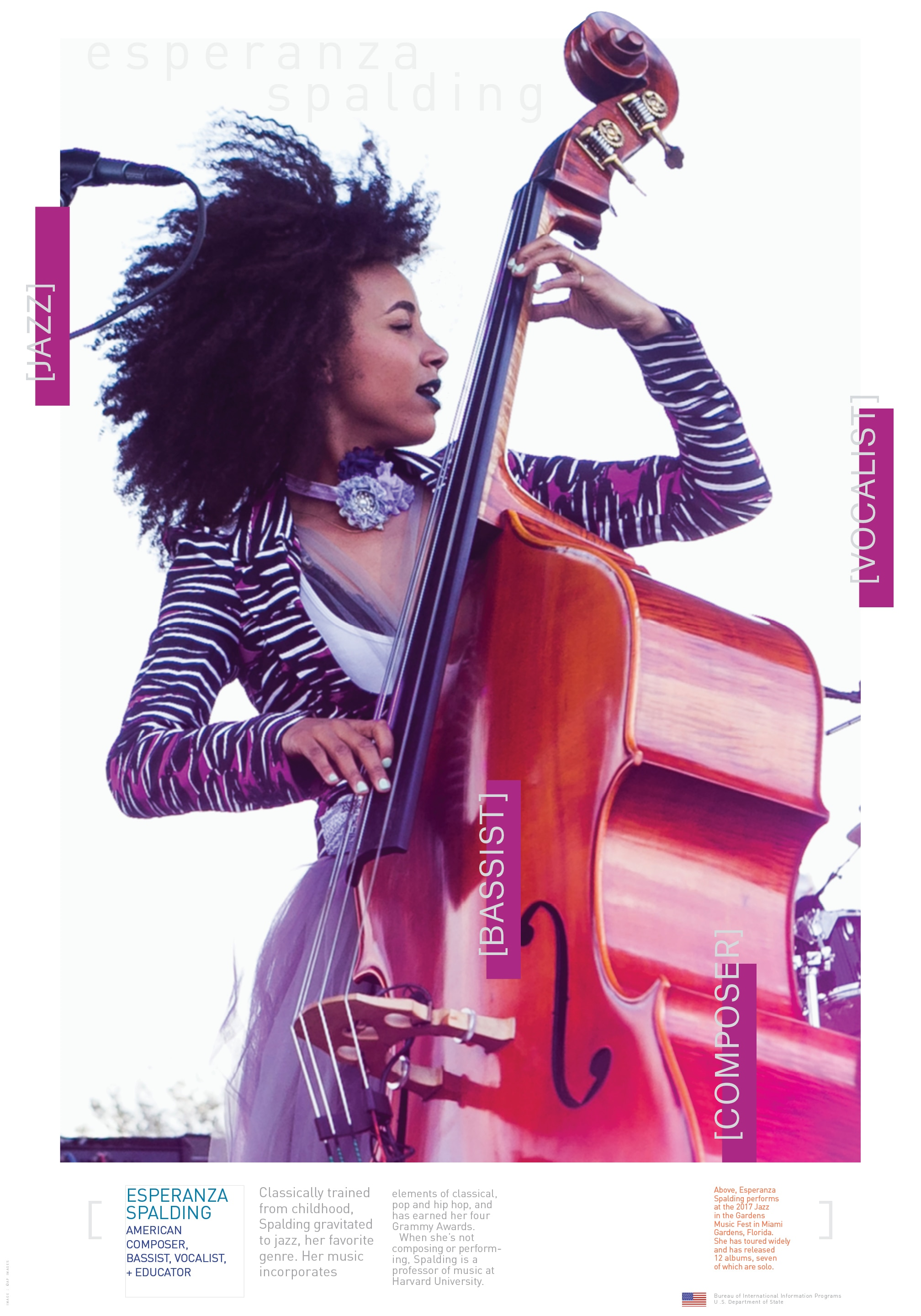 A free poster of Esperanza Spalding standing with a bass, with explanatory text underneath (State Dept./D. Woolverton. Photo: AP Images)