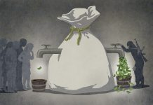 Illustration of terrorist draining large bag of money, leaving none for others (State Dept./Doug Thompson)