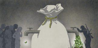 Ilustración de un terrorista arrastrando una bolsa grande con dinero, sin dejar nada para los otros (Depto. de Estado/Doug Thompson)