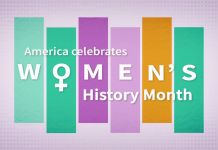 "Graphic with ""America celebrates Women's History Month"" (State Dept.)"