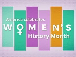 """Graphic with """"America celebrates Women's History Month"""" (State Dept.)"""