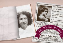 Picture of woman with advertising handbill