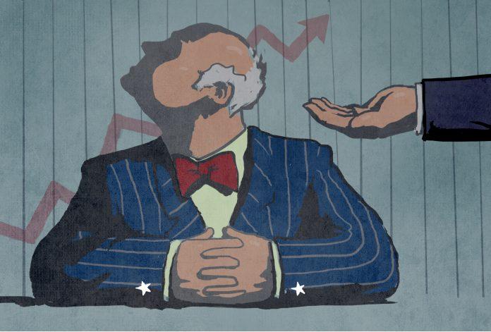 Dibujo de una mano recortada dirigida a un hombre con la cabeza vuelta (Depto. de Estado/D. Thompson)