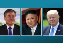Portrait photos of Moon Jae-in, Kim Jong Un and President Trump (© AP Images)