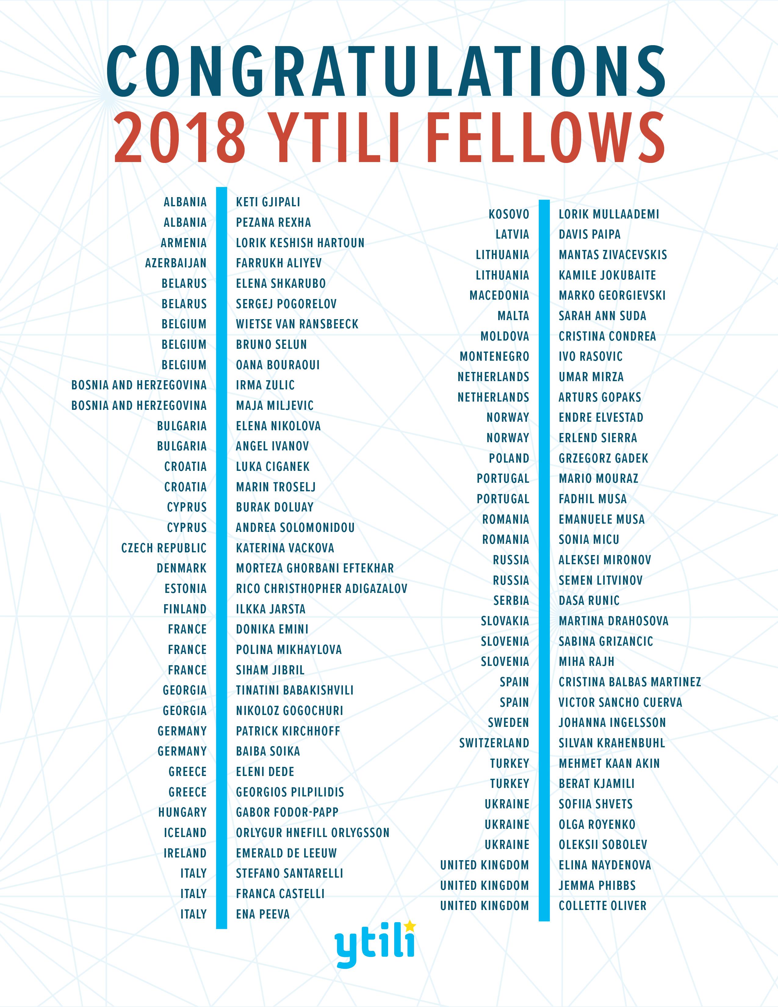 List of 2018 YTILI Fellows