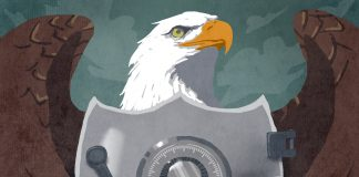 Illustration of the American eagle seal with a bank vault superimposed on the shield (State Dept./D. Thompson)