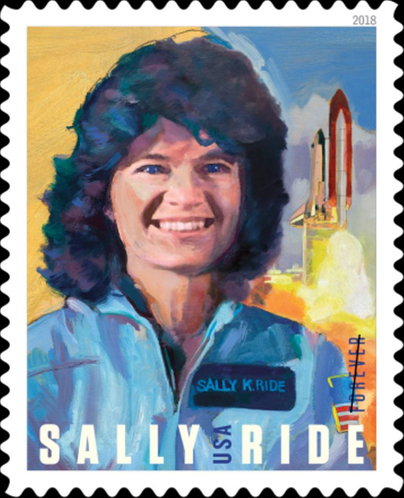 Postage stamp showing Sally Ride and space shuttle launch (U.S. Postal Service)