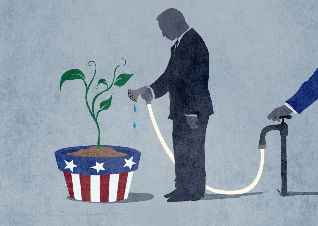 Illustration of person standing at potted plant with hose someone else has shut off (State Dept./Doug Thompson)
