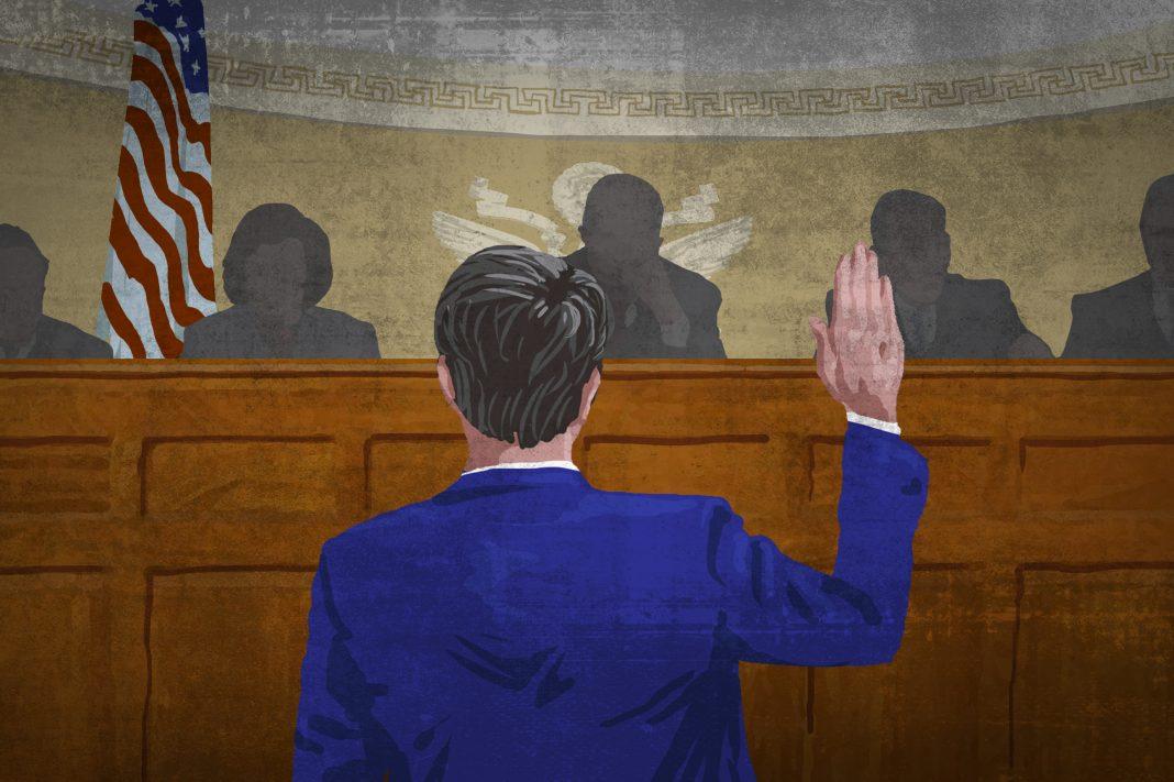 Dessin d'un homme, de dos, levant la main devant un drapeau américain et des personnes assises devant lui. (Département d'État/Doug Thompson)