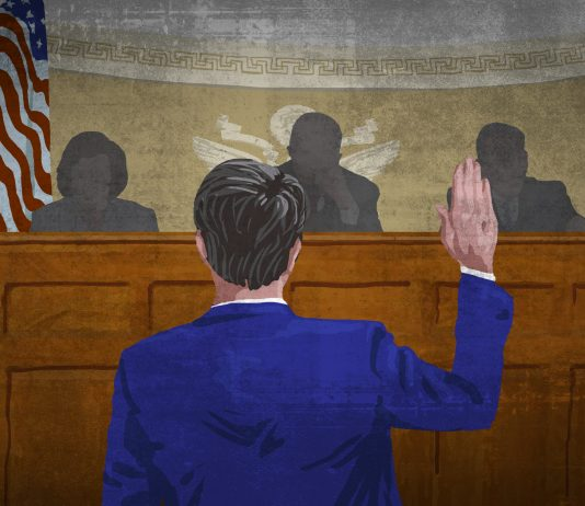 Illustration of a man swearing in before a Senate hearing (State Dept./Doug Thompson)