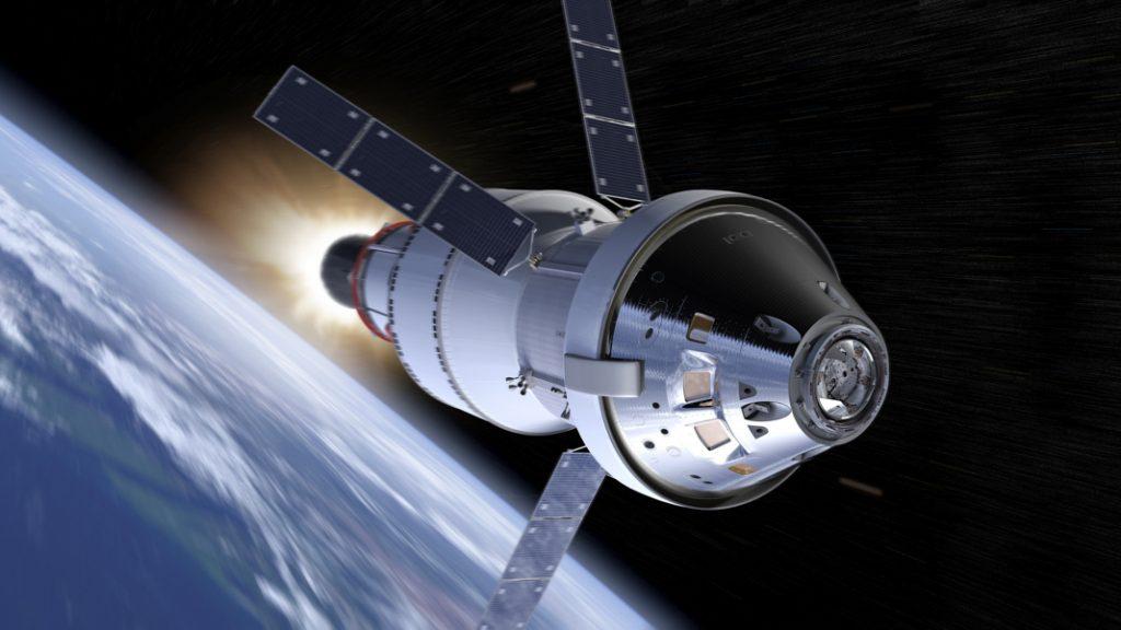 Concepto artístico de una nave especial sobrevolando la Tierra (© NASA)