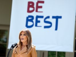 Melania Trump standing in front of a banner that reads 'Be Best.' (© Andrew Harnik/AP Images)