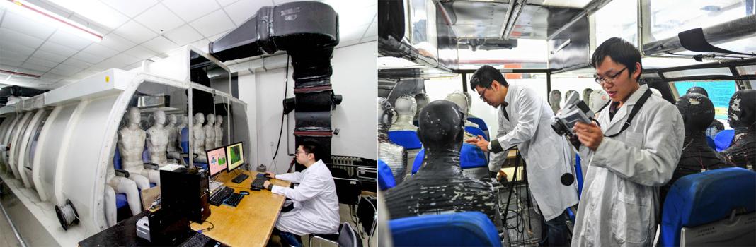 Dos imágenes que muestran a personas trabajando con fuselaje simulado de aviones (© VCG/VCG/Getty Images)