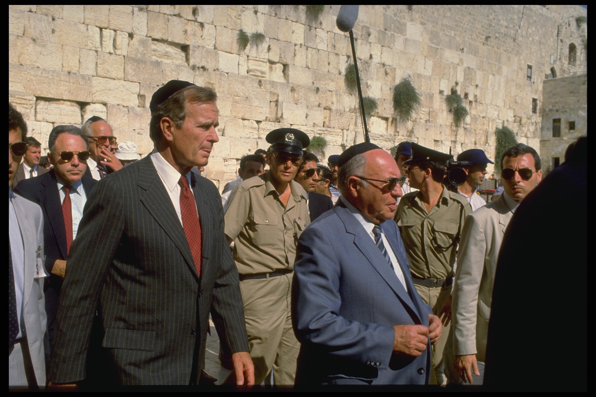 President George H.W. Bush and others at the Western Wall (State Dept.)