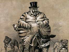 Cartoon drawing of man in tiger suit riding a donkey (© Bettmann/Getty Images)