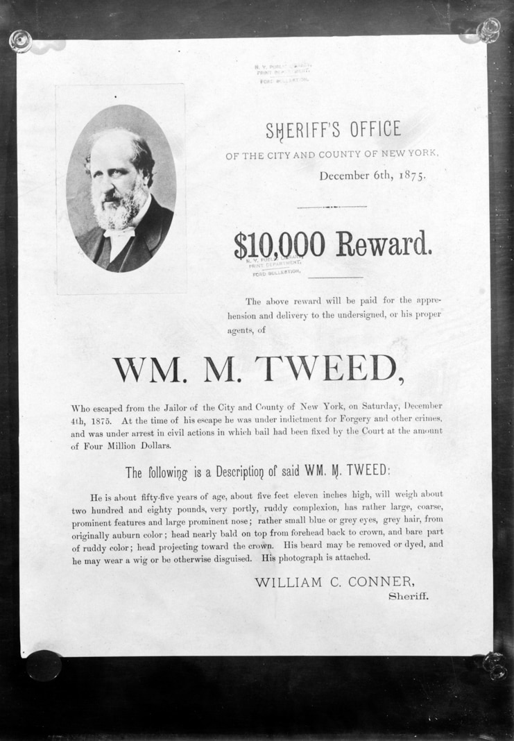 Poster showing reward offered for wanted criminal (© Smith Collection/Gado/Getty Images)