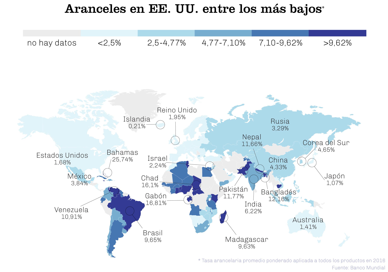 Mapa del mundo muestra promedio de tasas arancelarias en determinados países (Depto. de Estado)