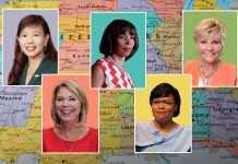 Cinq portraits photos de femmes placées sur une carte des États-Unis (Photos 1 et 5 : offertes ; photos 2, 3 et 4 : © AP Images ; image de la carte sous les photos des maires : Shutterstock)