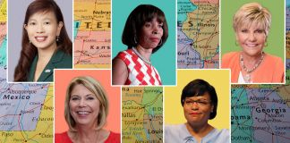 Five portrait photos of women superimposed on a U.S. map (Photos 1 and 5, courtesy photos; photos 2, 3, and 4 © AP Images; background photo, Shutterstock)