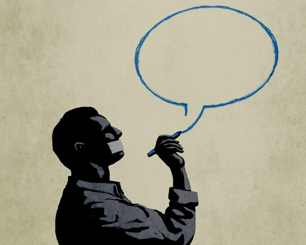 Ilustrasi seorang pria dengan mulut yang ditempelkan menutup gambar gelembung bicara (State Dept./Doug Thompson)