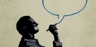 Ilustração de um homem com a boca tapada desenhando um balão de fala (Depto. de Estado/Doug Thompson)