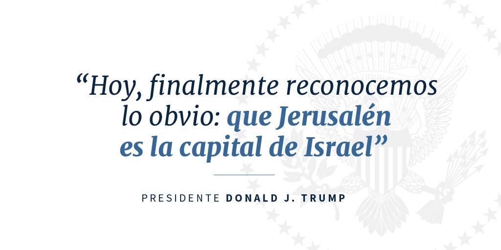 Cita del presidente Trump respecto a Jerusalén, capital de Israel (Depto. de Estado)