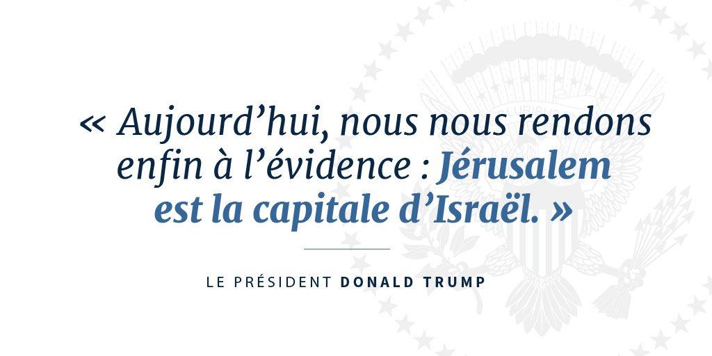 Citation du président Trump à propos de la capitale d'Israël (département d'État)