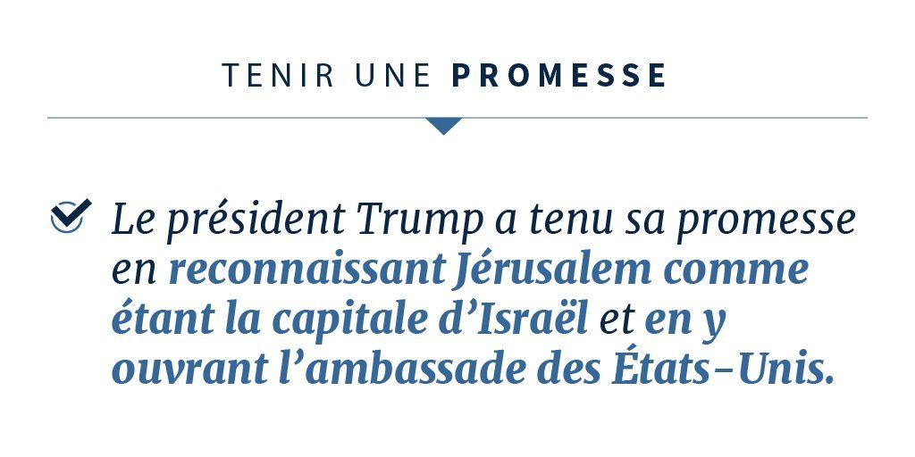 Déclaration du président Trump concernant la tenue de sa promesse (département d'État)