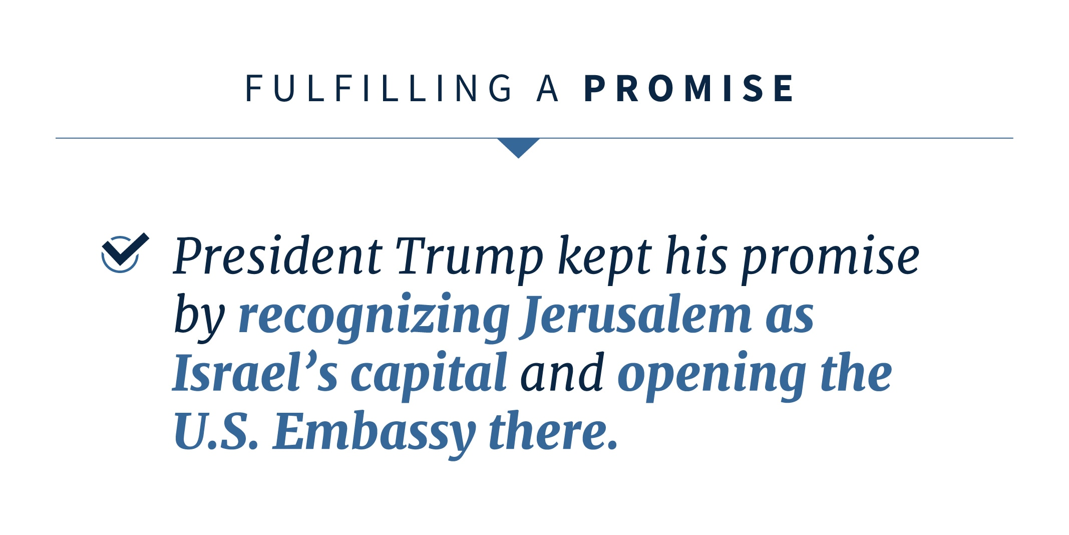 Statement on President Trump's fulfillment of his promise (State Dept.)