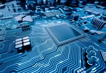 Artist's rendition of computer processor chip on circuit board (© Shutterstock)
