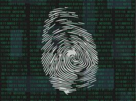 Drawing of fingerprint in front of computer data (© Shutterstock)