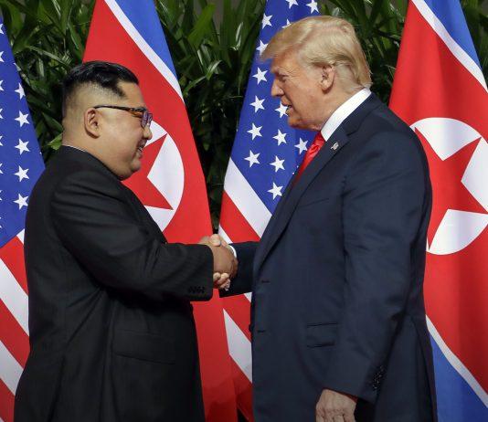 多数の米国旗と北朝鮮国旗の前で握手をする金正恩氏とトランプ大統領 (© Evan Vucci/AP Images)