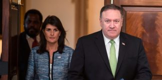 Nikki Haley and Mike Pompeo walking down hall(© Andrew Caballero-Reynolds/AFP/Getty Images)