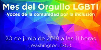 Gráfico con texto informativo sobre la charla electrónica con motivo del Mes del Orgullo Gay: Voces de la comunidad por la inclusión (Depto. de Estado)